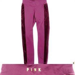 PINK VS Cozy Velvet Stripe Pants Burgundy Small